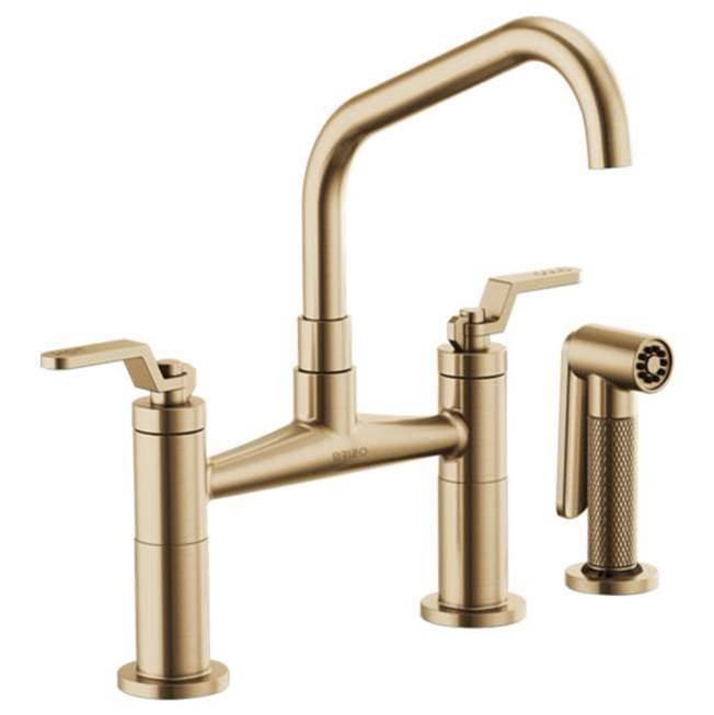 Brizo Litze: Bridge Faucet with Angled Spout and Industrial Handle