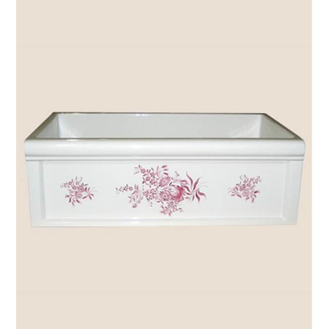 Herbeau ''Luberon'' Fireclay Farm House Sink in Sceau Rose, French Ivory background