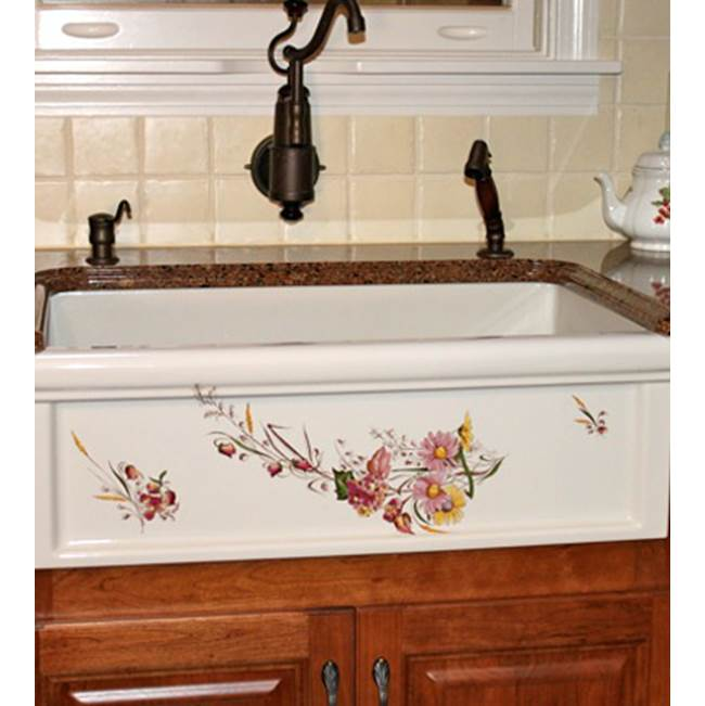 Herbeau ''Luberon'' Fireclay Farm House Sink in Avesnes, White background