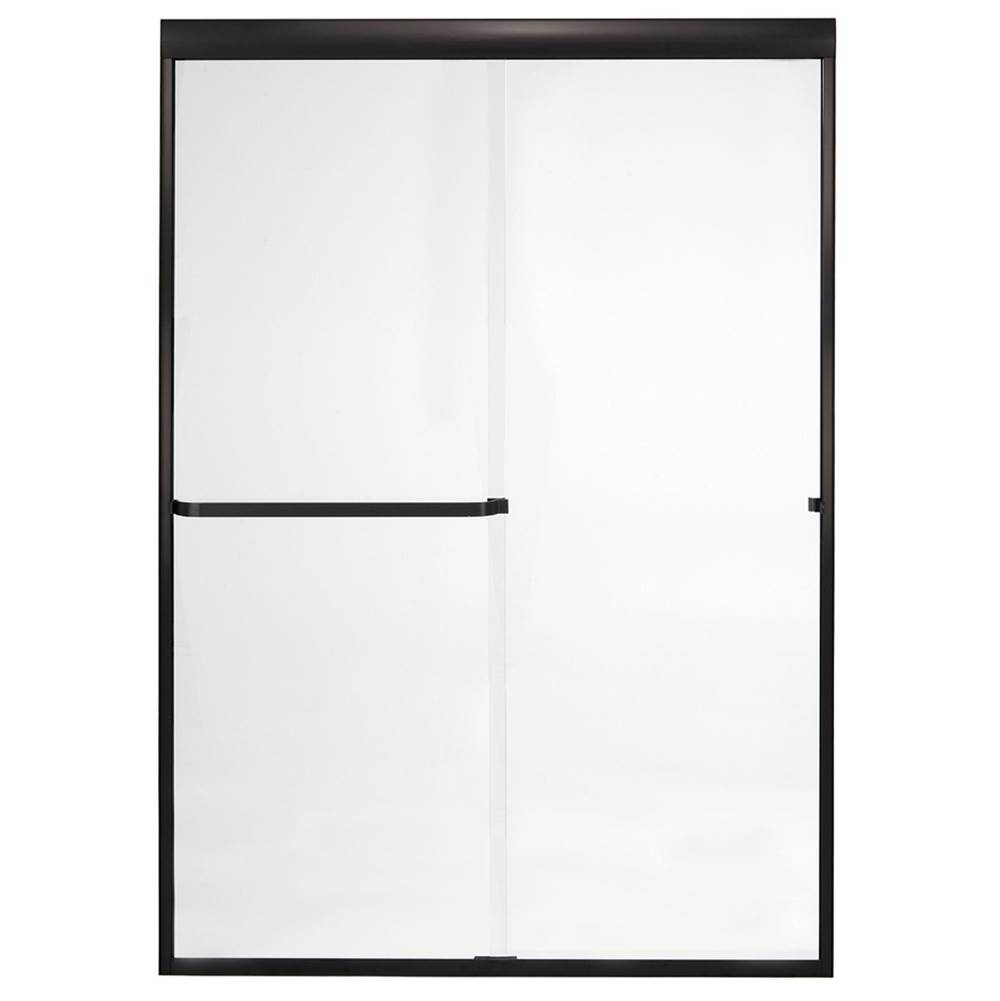 Mustee And Sons 60'' Frameless By-Pass Door W/Clear Glass Oil Rub Bronze