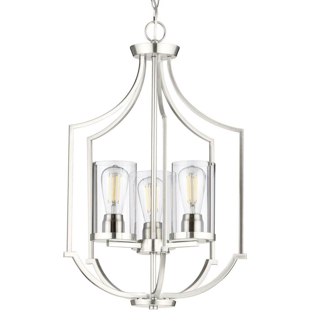 Progress Lighting Lassiter Collection Three-Light Brushed Nickel Foyer