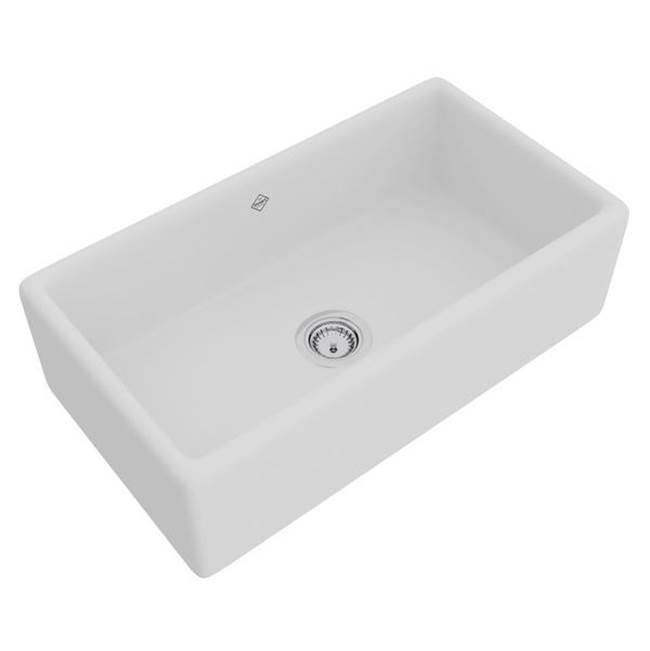 Rohl 33'' Lancaster Single Bowl Farmhouse Apron Front Fireclay Kitchen Sink